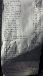 Receipt from Aldi's. (Close to my typical amount spent in a week.)