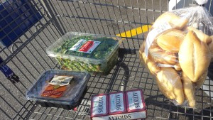 Cart at Sam's Club. (The rolls and mints are not a part of the freezer plan, but they were on the list.)